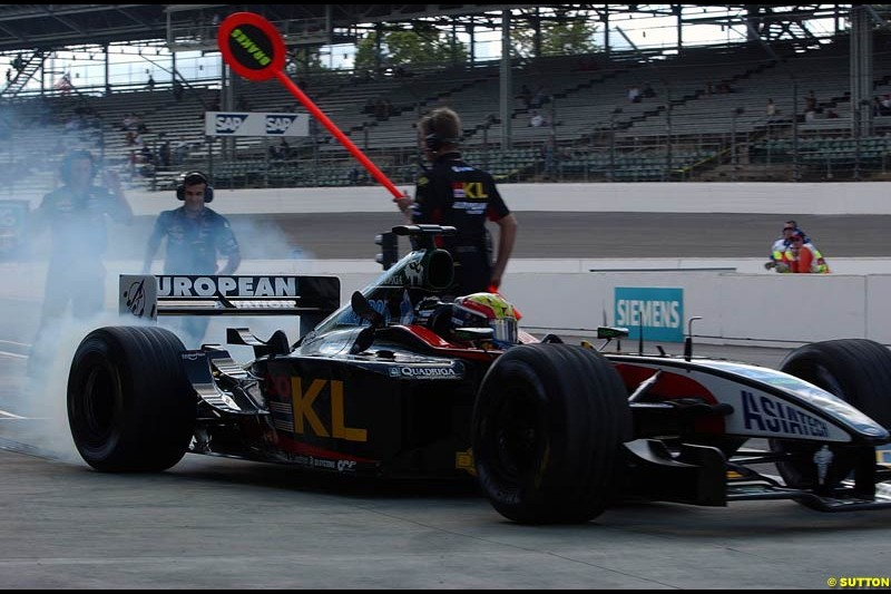 Mark Webber, Minardi, Friday Free Practice, United States GP, Indianapolis, September 27th 2002.