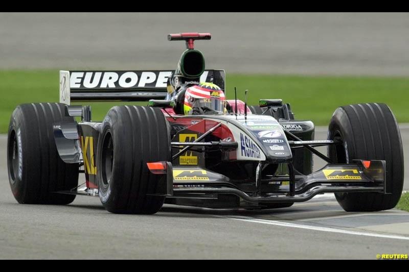 Alex Yoong, Minardi, Friday Free Practice, United States GP, Indianapolis, September 27th 2002.