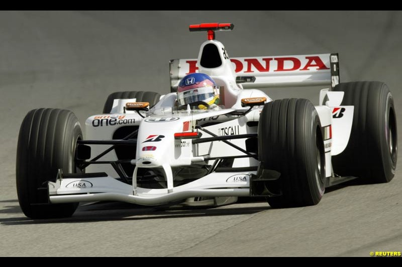 Jacques Villeneuve, BAR, Friday Free Practice, United States GP, Indianapolis, September 27th 2002.