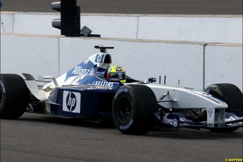 Ralf Schumacher, Williams. Friday Free Practice, United States GP, Indianapolis, September 27th 2002.