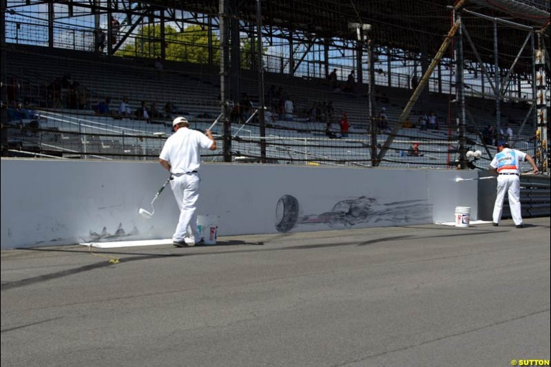 The location where Rubens Barrichello crashed at Friday Free Practice, United States GP, Indianapolis, September 27th 2002.
