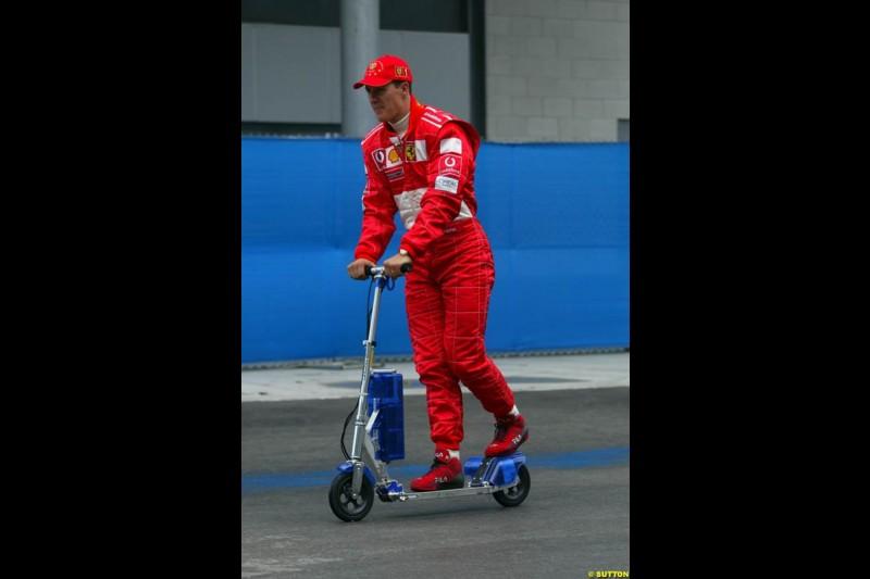 Michael Schumacher, Ferrari. Friday Free Practice, United States GP, Indianapolis, September 27th 2002.