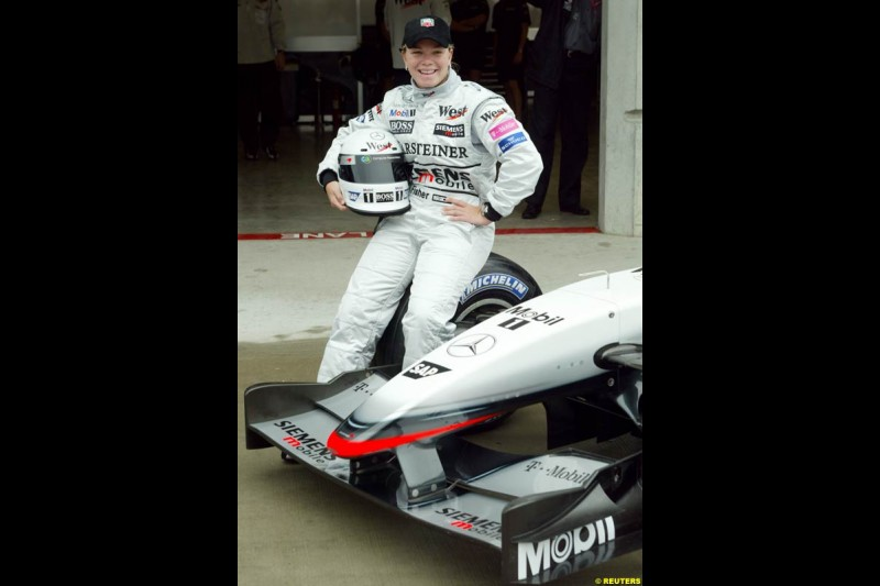 Sarah Fischer in a McLaren demo. Friday Free Practice, United States GP, Indianapolis, September 27th 2002.