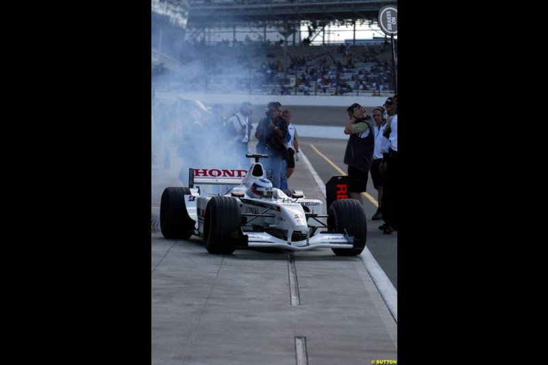 Olivier Panis, BAR, Friday Free Practice, United States GP, Indianapolis, September 27th 2002.
