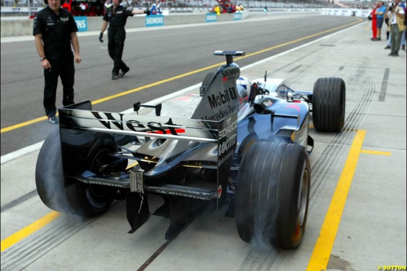 David Coulthard, McLaren, Friday Free Practice, United States GP, Indianapolis, September 27th 2002.