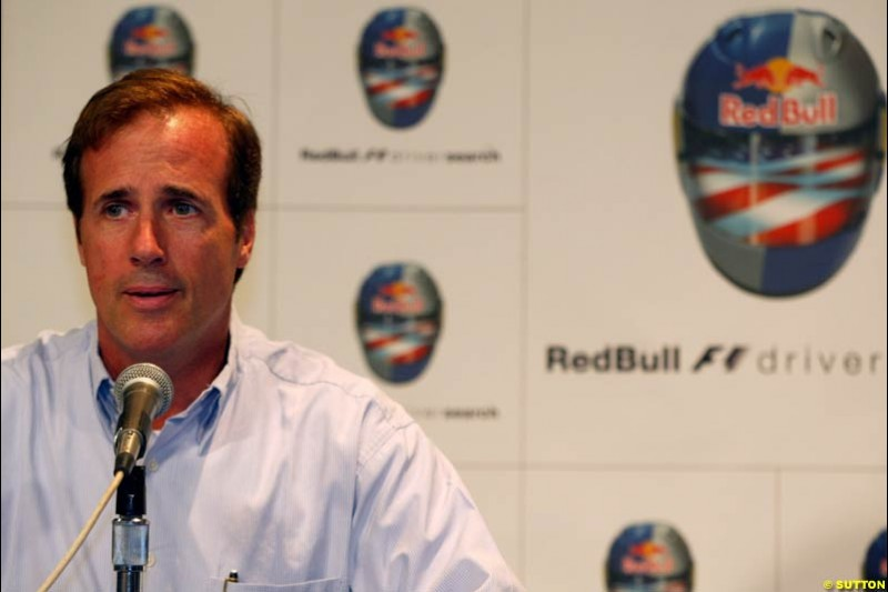 Danny Sullivan ad the RedBull presentation at the Indianapolis Motor Speedway, United States GP, Indianapolis, September 26th 2002.