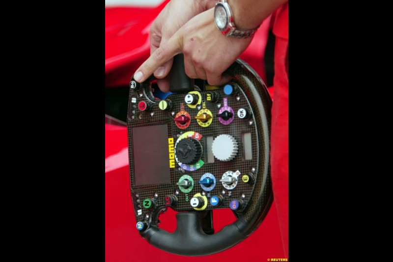 A Ferrari steering wheel, at the Indianapolis Motor Speedway, United States GP, Indianapolis, September 26th 2002.