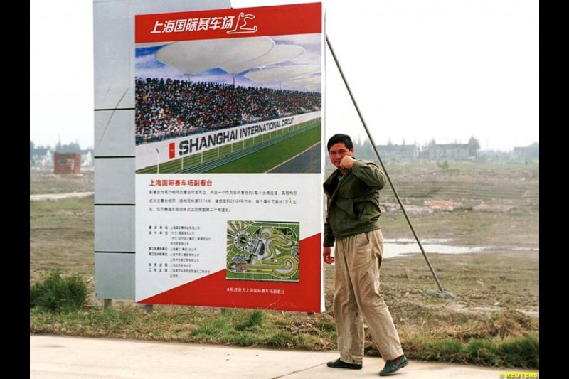 Construction begins in China for the Shanghai circuit, which is scheduled to host a Formula One Grand Prix as of 2004. October 21st 2002.