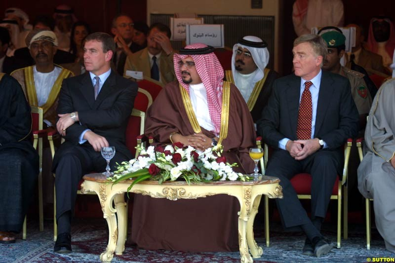 October 10th 2002: Max Mosley, HRH Prince Andrew, TheDuke of York and Prince Shaikh Salman bin Hamad al Khalifa formally began the buillding of the new Bahrain Racing Circuit at a ceremony in Sakhir, by laying a foundation stone in advance of the proposed Bahrain Grand Prix.