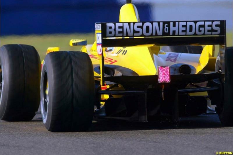 Takuma Sato, Jordan, Silverstone, England. October 3rd 2002