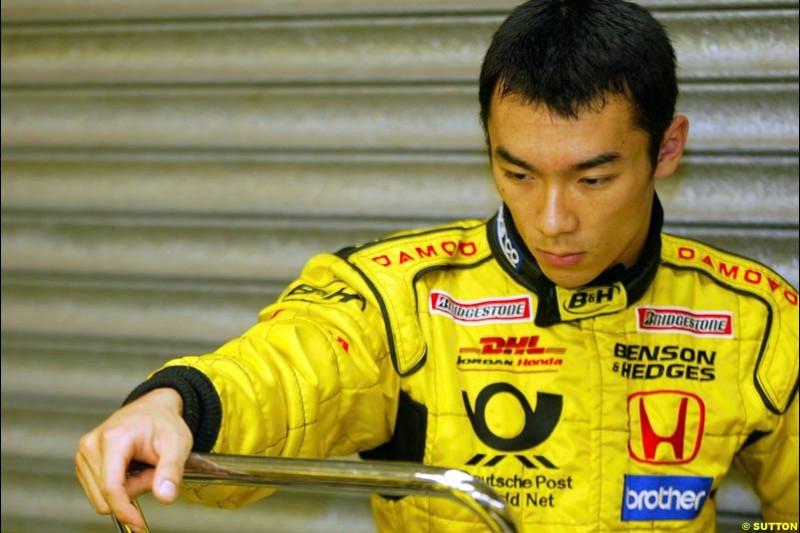Takuma Sato, Jordan, Silverstone, England. October 2nd 2002