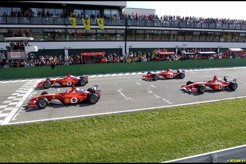 Ferrari celebrate at Misano, Italy, in front of a crowd of 50,000 spectators, the end of its successful motor racing year. October 20th 2002.