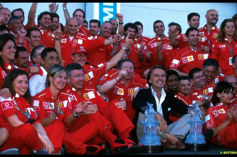 Ferrari celebrate Michael Schumachers World Championship at the French Grand Prix, Round 11.