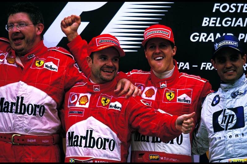 Belgian Grand Prix, Round 14 Podium. 1-Michael Schumacher, Ferrari. 2-Rubens Barrichello, Ferrari. 3-Juan Pablo Montoya, Williams.
