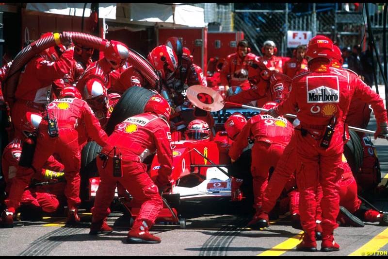 A Ferrari pit stop during the Monaco Grand Prix, Round 7.