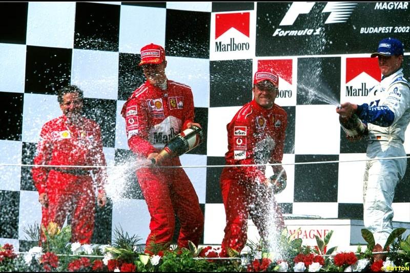 Hungarian Grand Prix, Round 13 Podium. 1-Rubens Barrichello, Ferrari. 2-Michael Schumacher, Ferrari. 3-Juan Pablo Montoya, Williams.