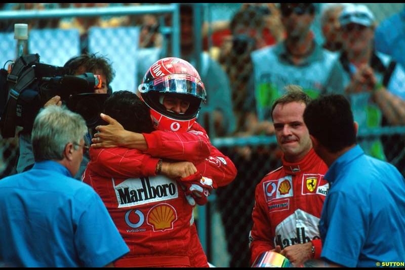Michael Schumacher celebrates his 150th F1 victory, Canadian Grand Prix, Round 8.