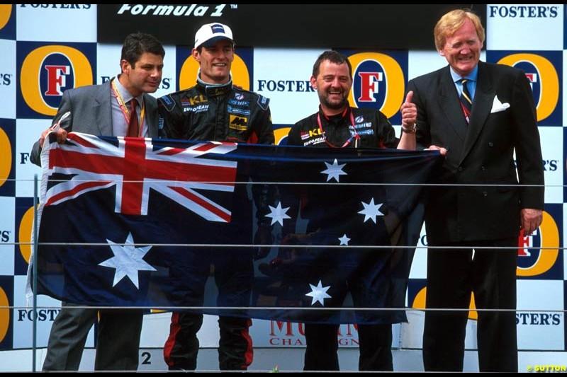 Minardi celebrate their first points finish after the Australian Grand Prix, Round 1.