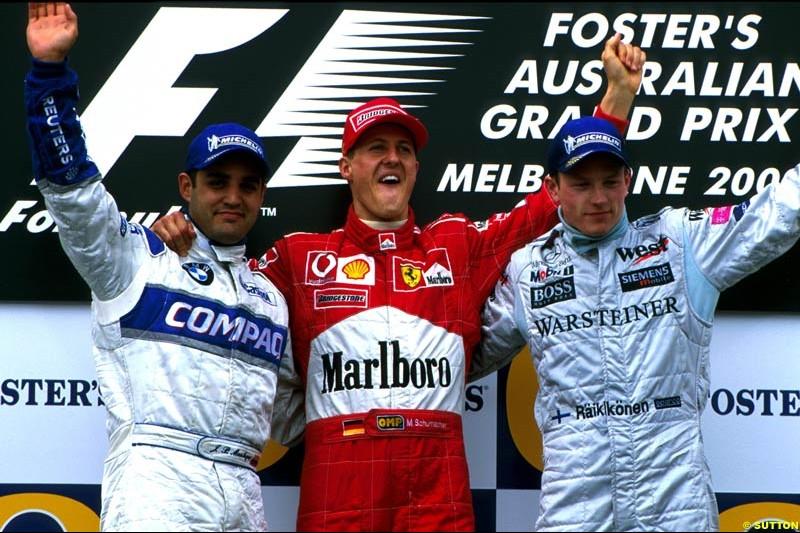 Australian Grand Prix, Round 1 Podium. 1-Michael Schumacher, Ferrari. 2-Juan Pablo Montoya, Williams. 3-Kimi Raikkonen, McLaren.