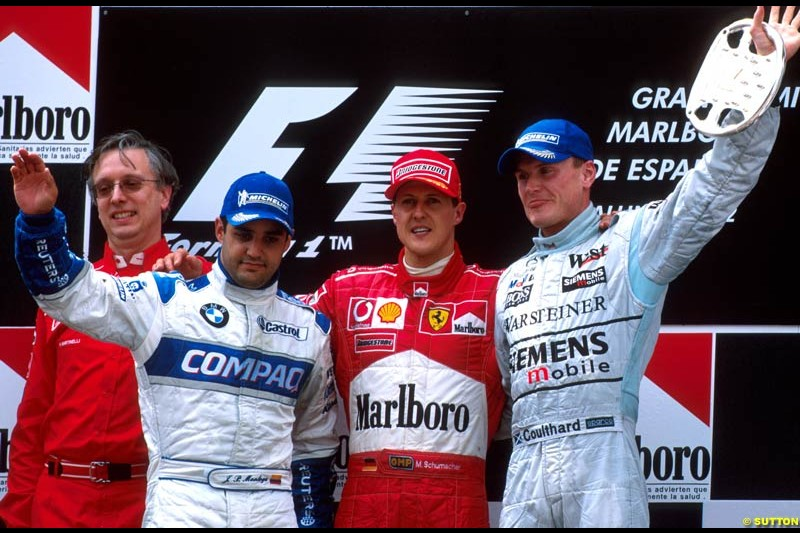 Spanish Grand Prix, Round 5 Podium. 1-Michael Schumacher, Ferrari. 2-Juan Pablo Montoya, Williams. 3-David Coulthard, McLaren.
