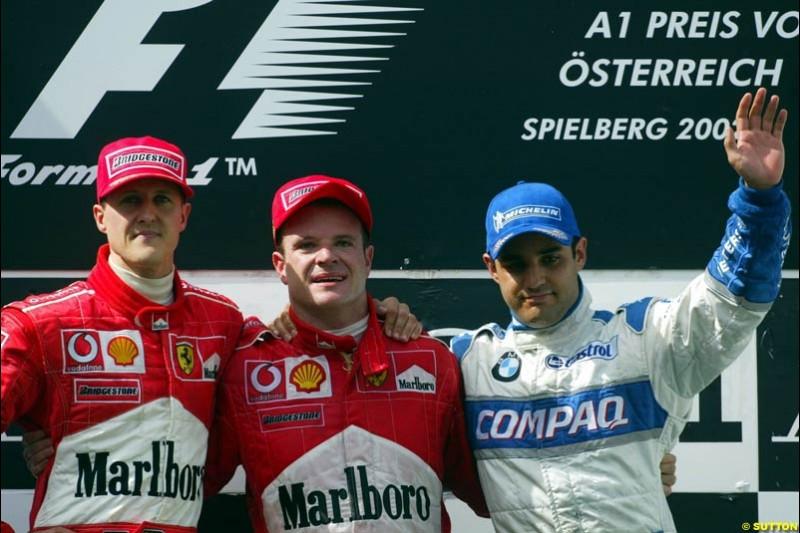 Austrian Grand Prix, Round 6 Podium. 1-Michael Schumacher (2nd step), Ferrari. 2-Rubens Barrichello (1st step), Ferrari. 3-Juan Pablo Montoya, Williams.