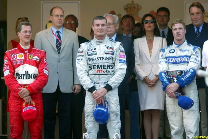 Monaco Grand Prix, Round 7 Podium. 1-David Coulthard, McLaren. 2-Michael Schumacher, Ferrari. 3-Ralf Schumacher, Williams.