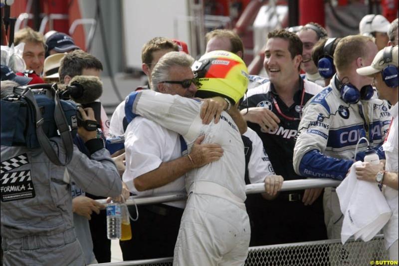 Ralf Schumacher celebrates victory at the Malaysian Grand Prix, Round 2.