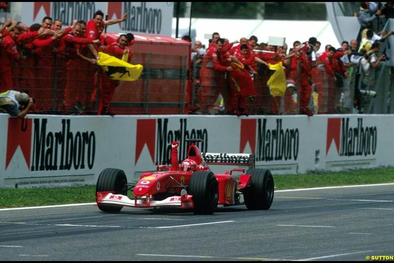 Michael Schumacher, Ferrari, wins the Spanish Grand Prix, Round 5.