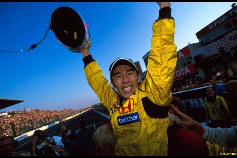 Takuma Sato, Jordan, celebrates 5th place at the Japanese Grand Prix, Round 17.