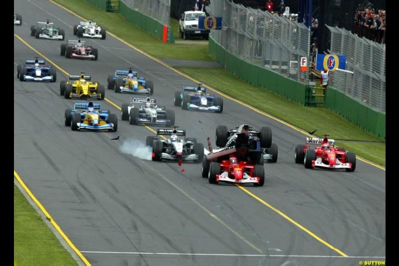 Ralf Schumacher, Williams, becomes airborne after a collision with Rubens barrichello, Ferrari, during the Australian Grand Prix, Round 1.