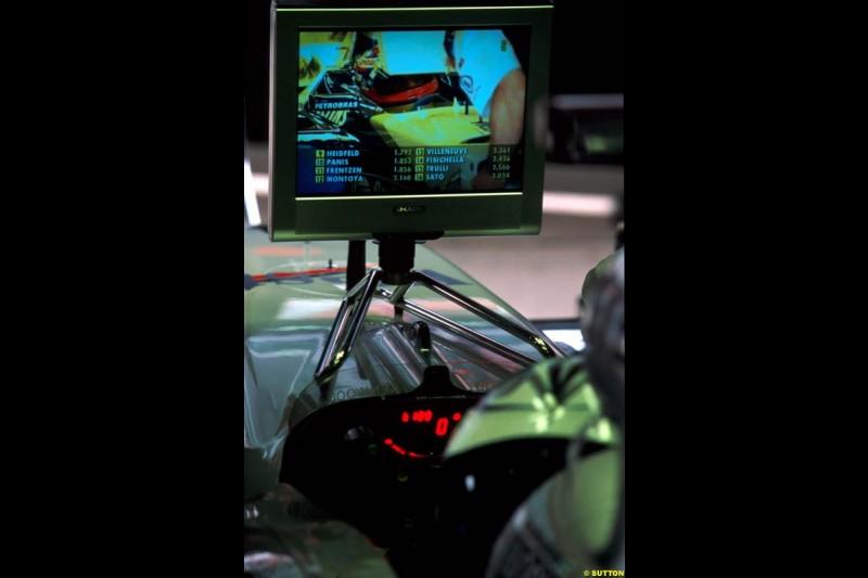 Kimi Raikkonen, McLaren, watches the video monitor. Spanish Grand Prix, Round 5.