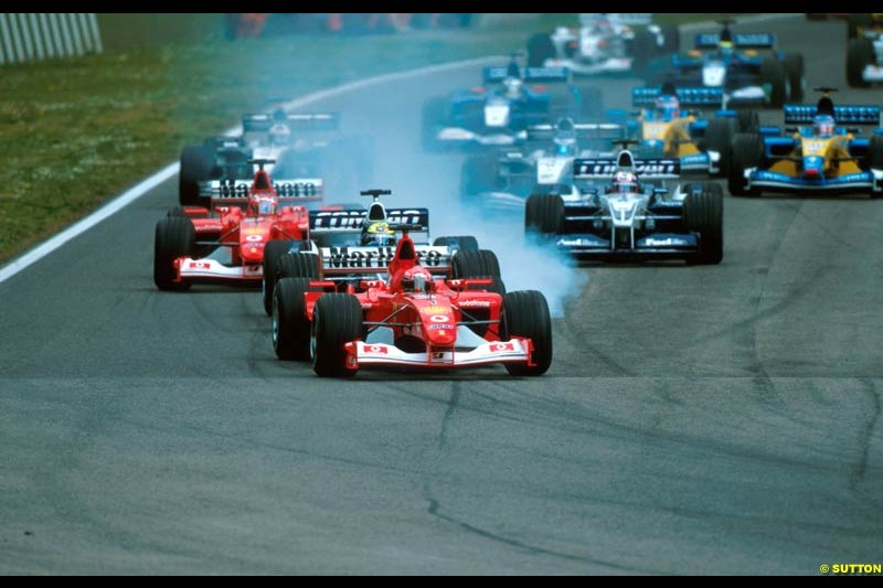 The first lap of the San Marino Grand Prix, Round 4.