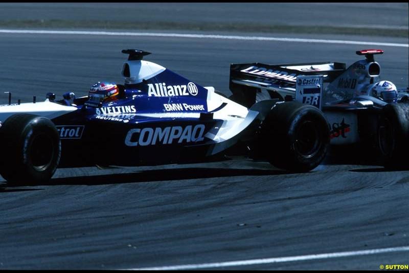 David Coulthard, McLaren, and Juan Pablo Montoya, Williams, tangle. European Grand Prix, Round 9.