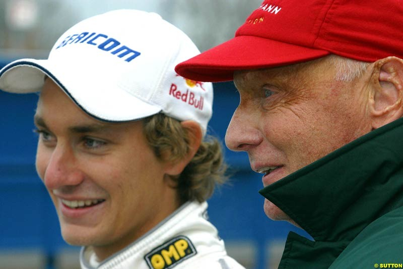 Jaguar Racing chief Niki Lauda made an appearance at Donnington to watch his son Mathias compete in the Formula Renault Winter Series. November 17th 2002.
