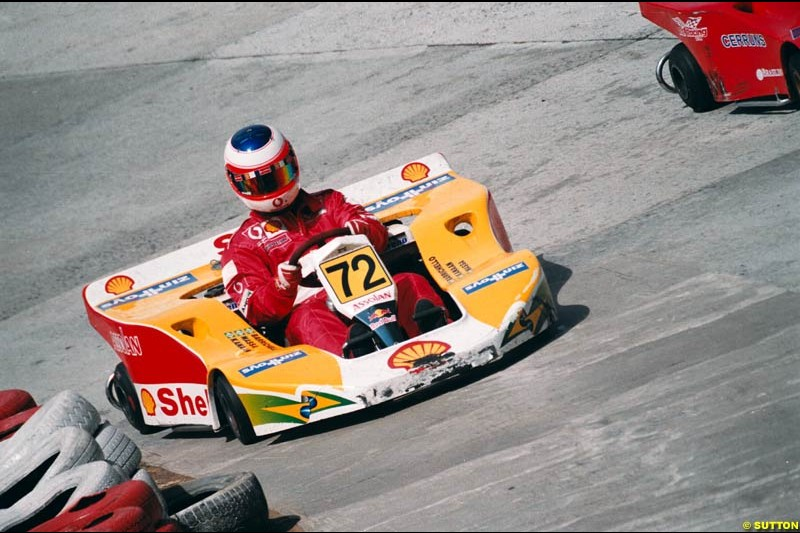 Brazilian Rubens Barrichello joined forces with compatriots Felipe Massa and Tony Kanaan to take his fourth win in the sixth running of Brazil's most important karting event, the 500 Miles of Granja Viana. November 10th 2002.