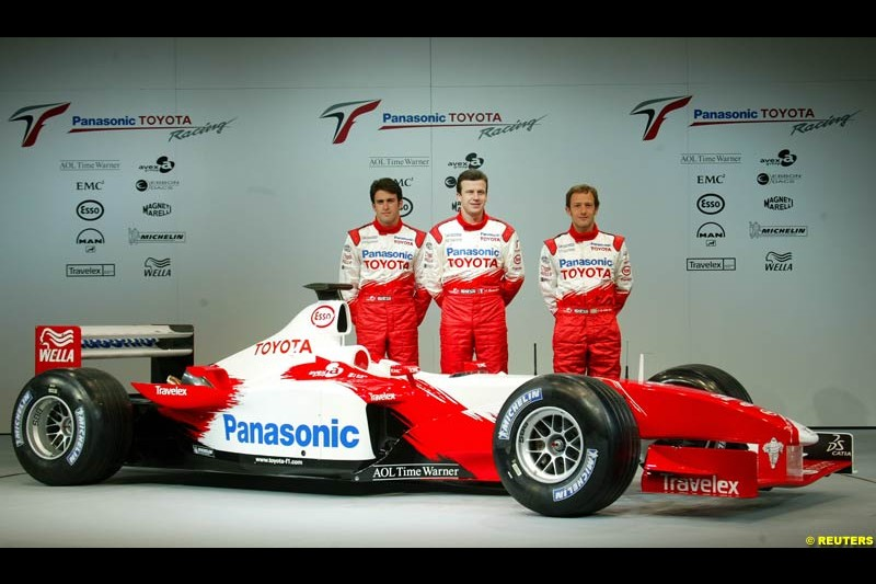 Ricardo Zonta, Olivier Panis and Cristiano da Matta. Toyota F1 Launch. Circuit Paul Ricard, Le Castellet, France. January 8th 2003.