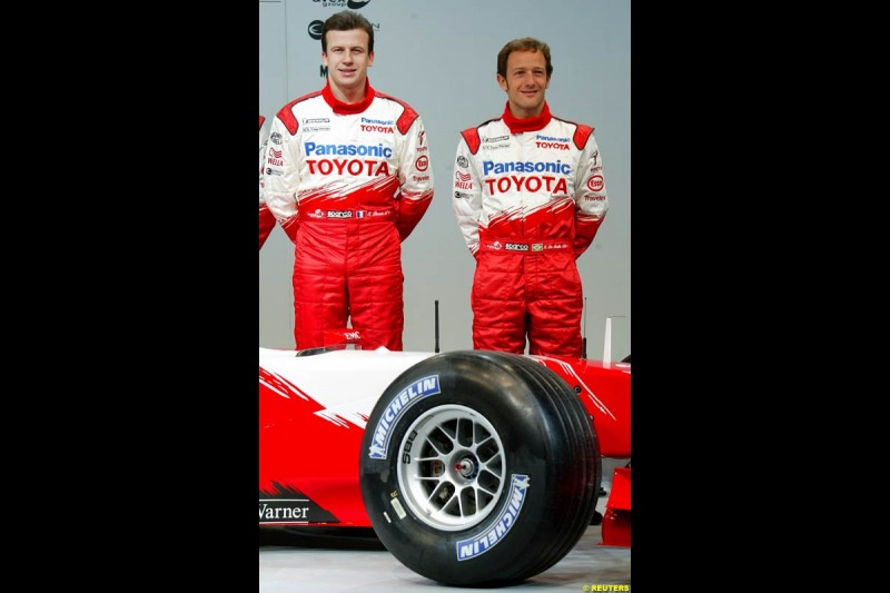 Olivier Panis and Cristiano da Matta. Toyota F1 Launch. Circuit Paul Ricard, Le Castellet, France. January 8th 2003.