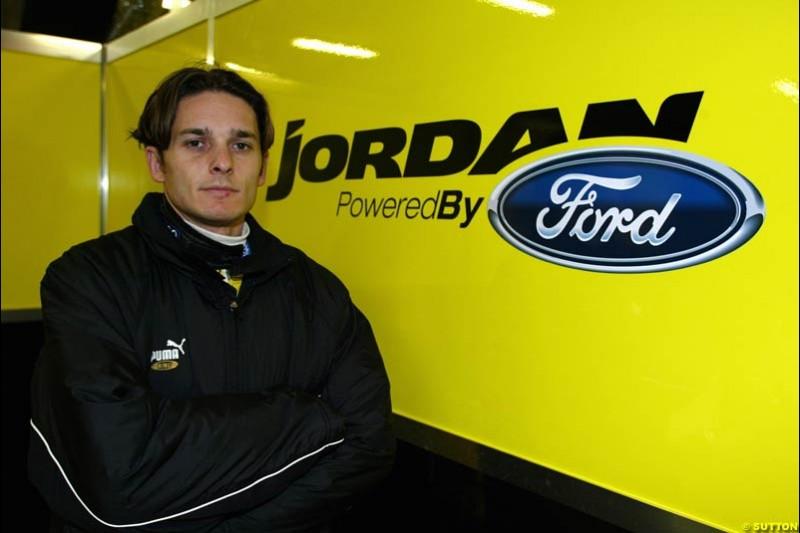 Giancarlo Fisichella, Jordan, at the Circuit de Catalunya. Barcelona, Spain. January 20th 2003.