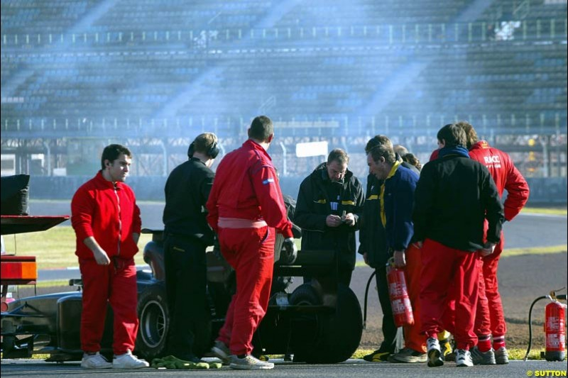 Giancarlo Fisichella's Jordan breaks down during testing at the Circuit de Catalunya. Barcelona, Spain. January 20th 2003.