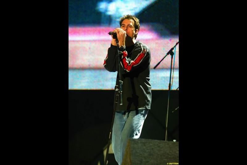 Bryan Herta joins the V10 band. The annual Grand Prix Ball. Birmingham, England. January 11th 2003.