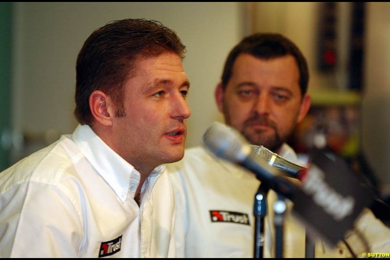 Minardi Team owner Paul Stoddard announces Jos Verstappen will drive for the team in 2003. Dordrecht, The Netherlands. January 9th 2003.