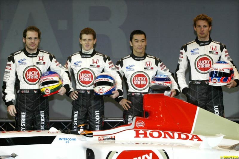 Jacques Villeneuve, Anthony Davidson, Takuma Sato and Jenson Button at the launch of the British American Racing's 2003 car, the BAR-Honda 005. Montjuich Park, Barcelona, Spain. January 14th 2003.