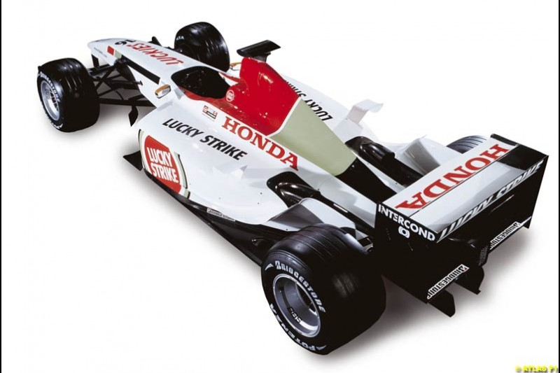 The launch of the British American Racing's 2003 car, the BAR-Honda 005. Montjuich Park, Barcelona, Spain. January 14th 2003.