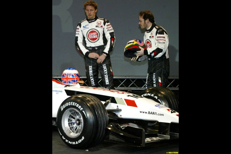 Jenson Button and Jacques Villeneuve at the launch of the British American Racing's 2003 car, the BAR-Honda 005. Montjuich Park, Barcelona, Spain. January 14th 2003.