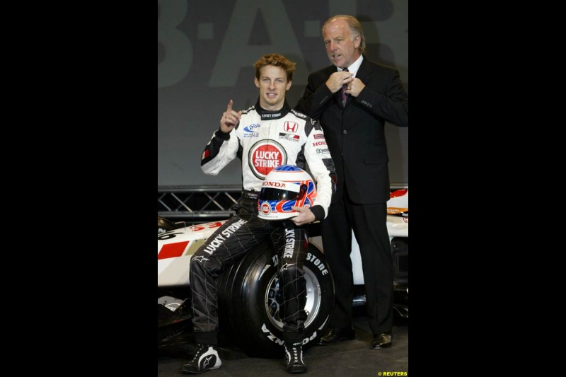 Jenson Button and David Richards at the launch of the British American Racing's 2003 car, the BAR-Honda 005. Montjuich Park, Barcelona, Spain. January 14th 2003.
