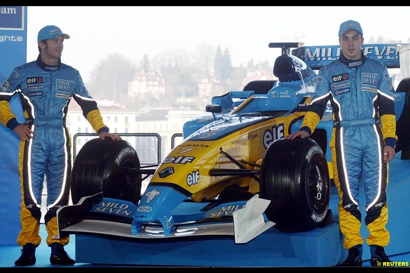 Fernando Alonso and Jarno Trulli. The 2003 Renault challenger, the R23, unveiled in Lucerne, Switzerland. January 20th 2003.