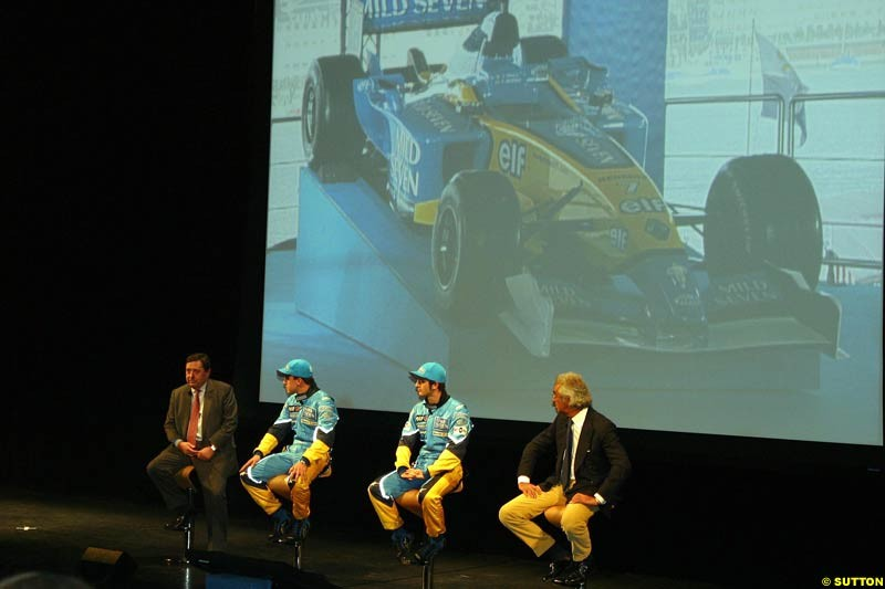 The 2003 Renault challenger, the R23, unveiled in Lucerne, Switzerland. January 20th 2003.