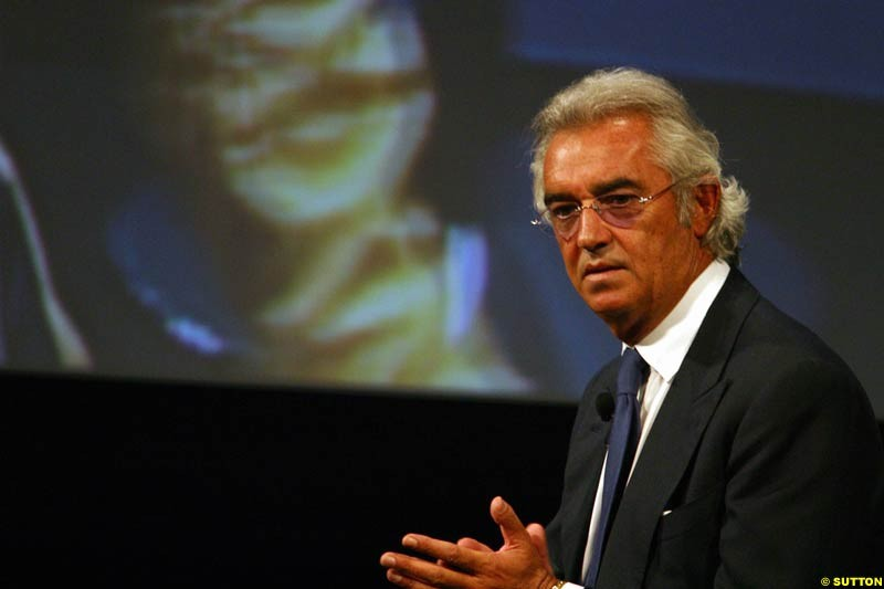 Flavio Briatore. The 2003 Renault challenger, the R23, unveiled in Lucerne, Switzerland. January 20th 2003.