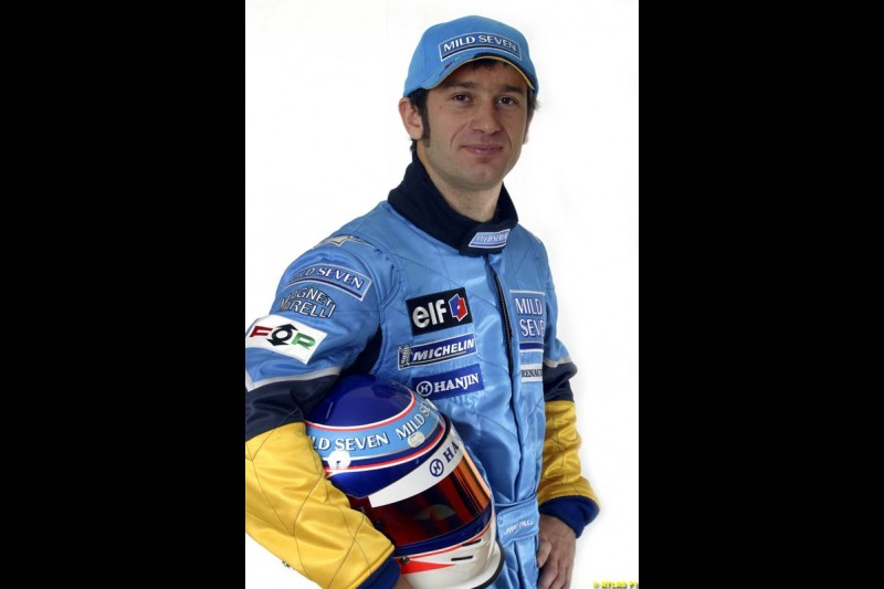 Jarno Trulli. The 2003 Renault challenger, the R23, unveiled in Lucerne, Switzerland. January 20th 2003.