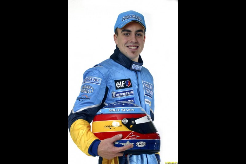 Fernando Alonso. The 2003 Renault challenger, the R23, unveiled in Lucerne, Switzerland. January 20th 2003.